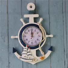 33cm Anchor Clock Beach Sea Theme Nautical Starfish Decor Wall Mounting