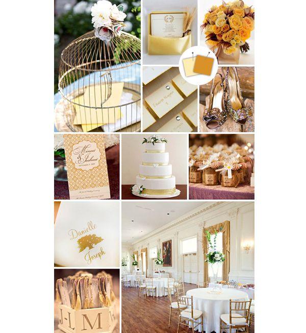 Decoração do casamento amarelo e dourado: Wedding Colour, Colors Combos, The Knot, Birds Cages, Idea, Colors Palettes, Colors Schemes, Wedding Inspiration Boards, Gold Wedding