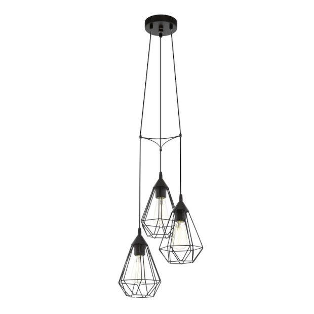 Eglo Tarbes Hanglamp Zwart 3 lamp - Ø 31 cm - afbeelding 1