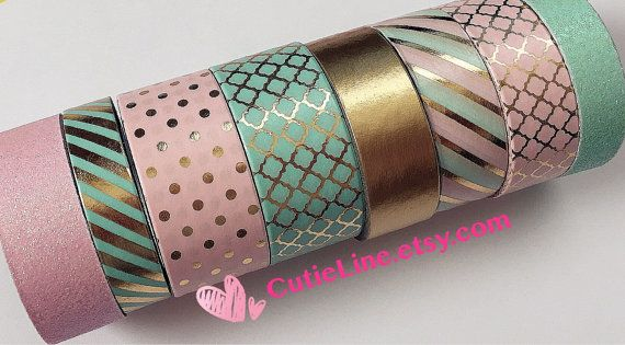 Recollections Washi Tapes Set of 8 Rolls - Pink glitter/Mint with gold foiled accents/Pink and gold dots/ Michaels Washi Tubes/Planner washi