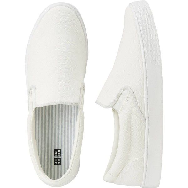 UNIQLO UNISEX Slip-on shoes ($39) ❤ liked on Polyvore featuring shoes, sneakers, vans, off white, holiday shoes, slip-on shoes, striped shoes, uniqlo and cocktail shoes