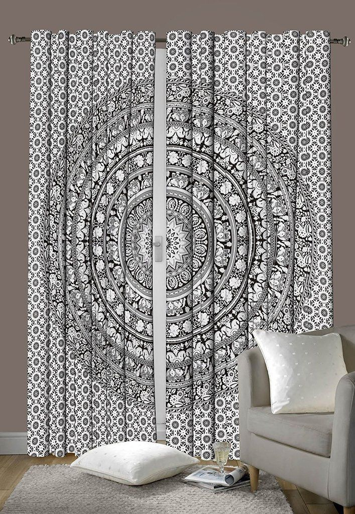 Peacock Mandala Window Curtains Drape Balcony Room Decor Curtain Indian Tapestry Home, Furniture & Diy Curtains & Pelmets