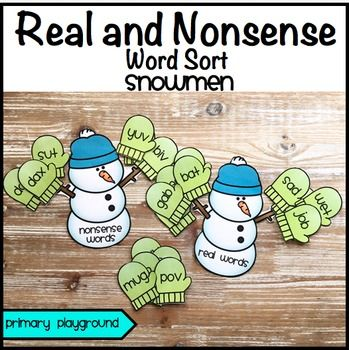 Real and Nonsense Word Sort Snowmen and Mittens