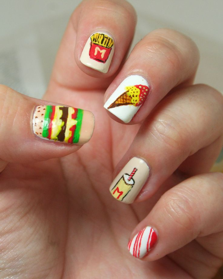 Single Line Nail Art : Best images about mcdonalds nails nail art designs by