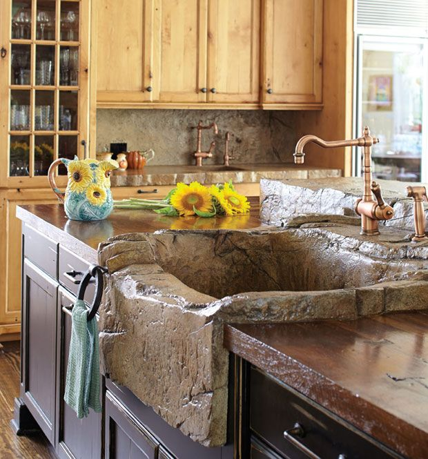 Concrete Thinking: A Surprising Material Brings a Dream Kitchen to Life (this sink is concrete made to look like stone, awesome!