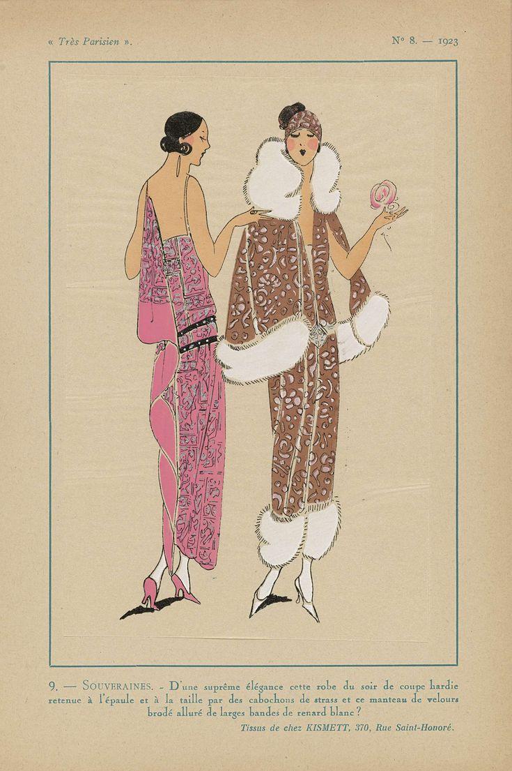 Anonymous | Très Parisien, 1923, No 8: 9. - SOUVERAINES. - D'une suprême élégance..., Anonymous, Kismett, G-P. Joumard, 1923 | Avondjurk 'de coupe hardie' opgehouden bij de schouder en de taille door cabochons van strass. Mantel van geborduurd fluweel met brede banden van wit vossenbont. Stoffen van Kismett. Prent uit het modetijdschrift Très Parisien (1920-1936).