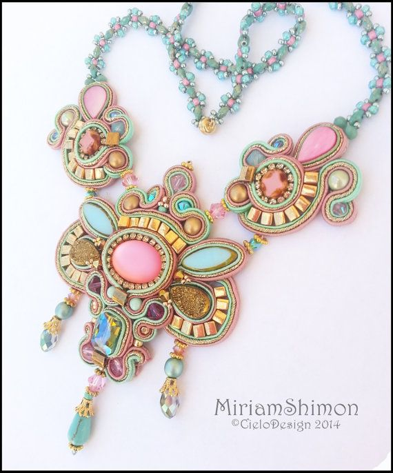ON SALE Soutache necklace in Gold Mauve turquoise by MiriamShimon