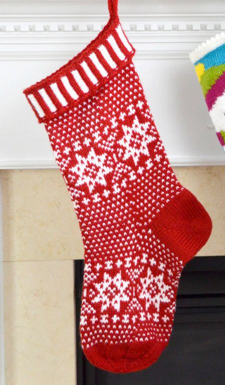 """Free Knitting Pattern for Scandinavian Stocking - Christmas stocking with traditional Scandinavian motifs. Circumference: 16"""" Length: 21"""". Designed by Premier Yarns Design Team"""