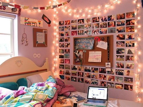 Something like this is cute, maybe not so many pictures. Also, a board like that is good to keep my schedule calendar up there