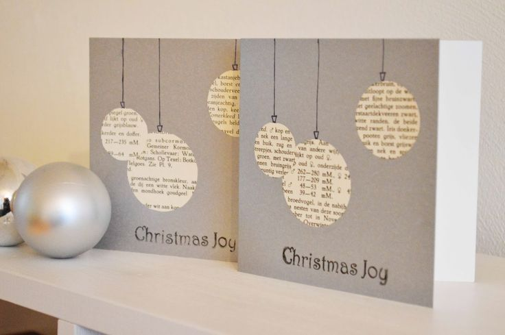 might be cute with dictionary pages for the ornament papers - - - Vier Vandaag!: DIY kerstkaart | 2