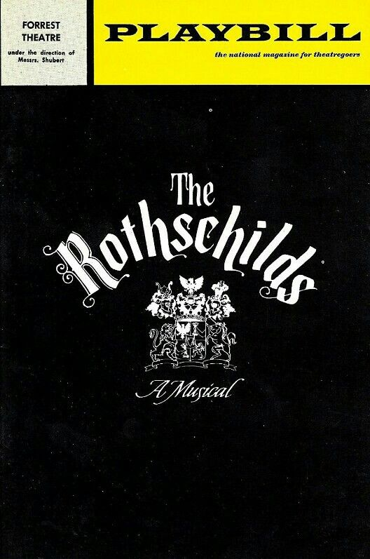 """Theatre Programme for the Premiere Philadelphia Tryout Production of the Jerry Bock / Sheldon Harnick musical """"The Rothschilds,"""" which performed from September 16 thru October 3, 1970 at the Forrest Theatre. Hal Linden, Paul Hecht, Leila Martin, and Keene Curtis starred in the production, which was based on the book by Frederic Morton."""