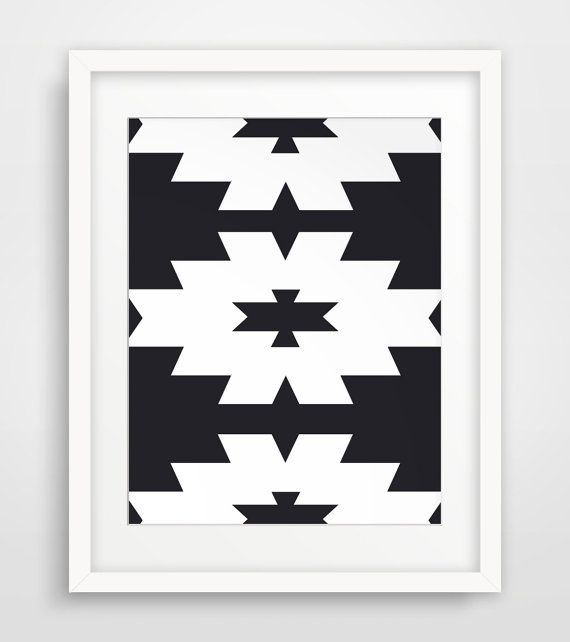 Downloadable print art of Black and White, Southwestern Aztec Wall Art    ===      Print out this modern wall artwork from your home computer