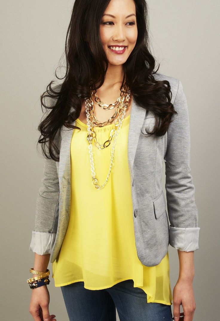 I don't need a gray blazer because I already own one, but I like this look even with different colors.