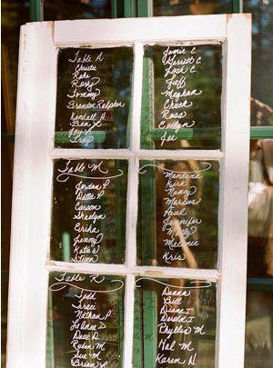 une ancienne fenêtre et un feutre, rien de plus simple pour ce plan de table