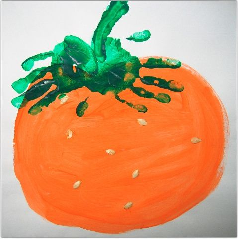 Handprint pumpkins