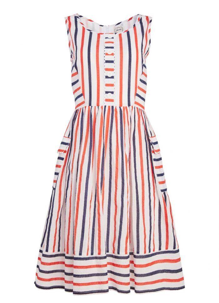Dylan Multi Colour Stripe Sleeveless Dress | Vintage Cotton Summer Dress