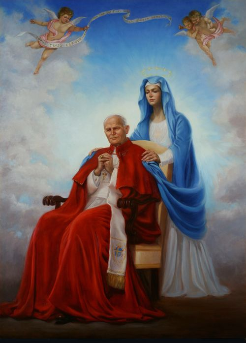 Art by Lisa Andrews: TOTUS TUUS -  The late Pope John Paul II was well-known for his intense devotion to Mother Mary