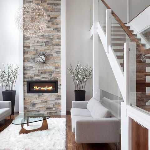 The Stairs U0026 Glass Are So Beautiful! I Like The Fireplace A Lot Too! Modern  Living Room By Rectangle Design Inc