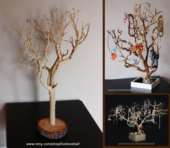 Sand blasted manzanita branch jewelry organizer natural for Tree branch jewelry holder