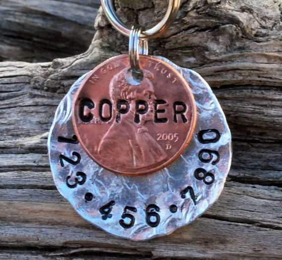 Pet ID Tag/Tags, Dog Tag, Dog Collar Tag, Personalized, Pet Charm, Unique Hand Stamped...... Copper