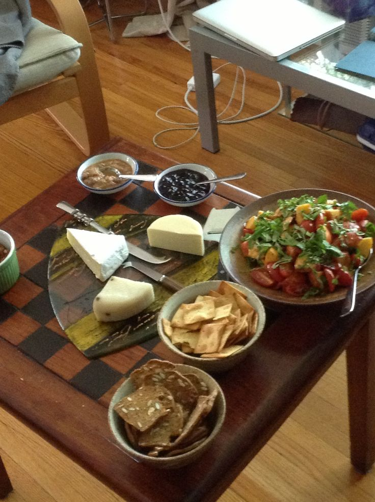 Tomato and peach salad, local cheeses, home-made preserves, and crackers