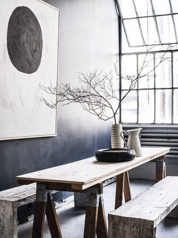 #interior design #dining spaces #tables #wood #grey palette - Pia Ulin's NY Studio - emmas designblogg