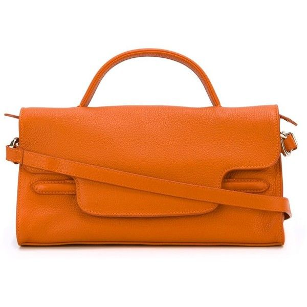 Zanellato Small Nina Tote featuring polyvore women's fashion bags handbags tote bags orange tote bag orange leather tote handbags totes leather tote bags orange leather handbag
