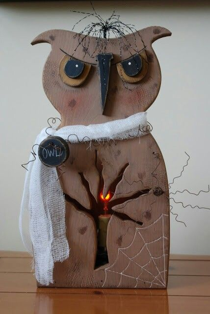 scarey owl halloween wood craft this has potential - Wooden Halloween Decorations
