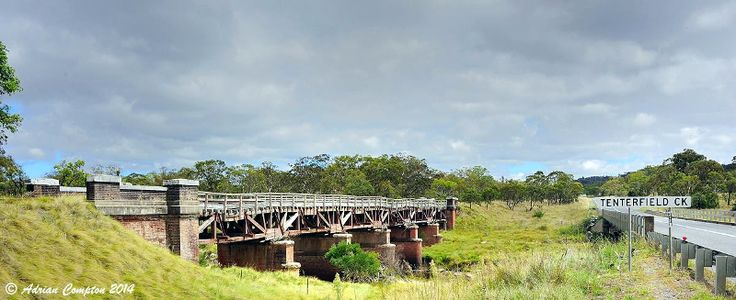 A photograph by Adrian Compton in February 2014 of the real Queen post truss bridge over Tenterfield Creek Sunnyside, on the Great Northern Railway between Tenterfield and Wallangarra.