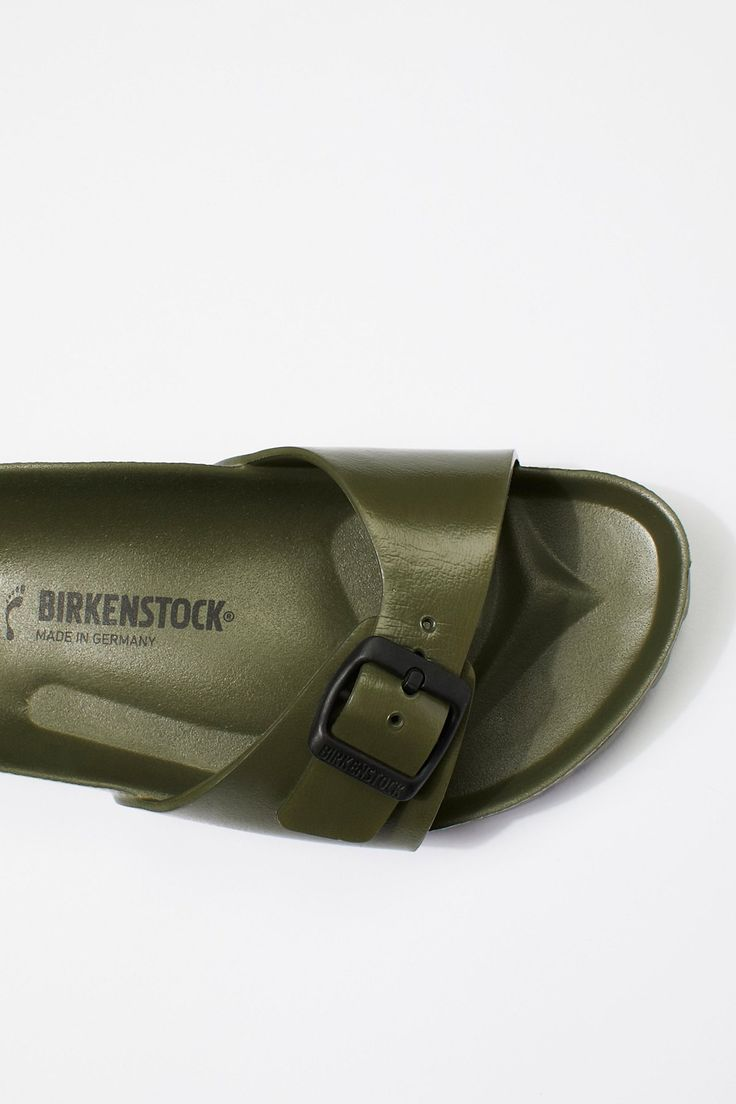 EVA Madrid Birkenstock | Slip-on Birkenstock sandals featuring an EVA footbed and outsole. Adjustable strap across the toe for an easy on/off.    Sizing Tip: This style runs true to size. If between sizes size up.