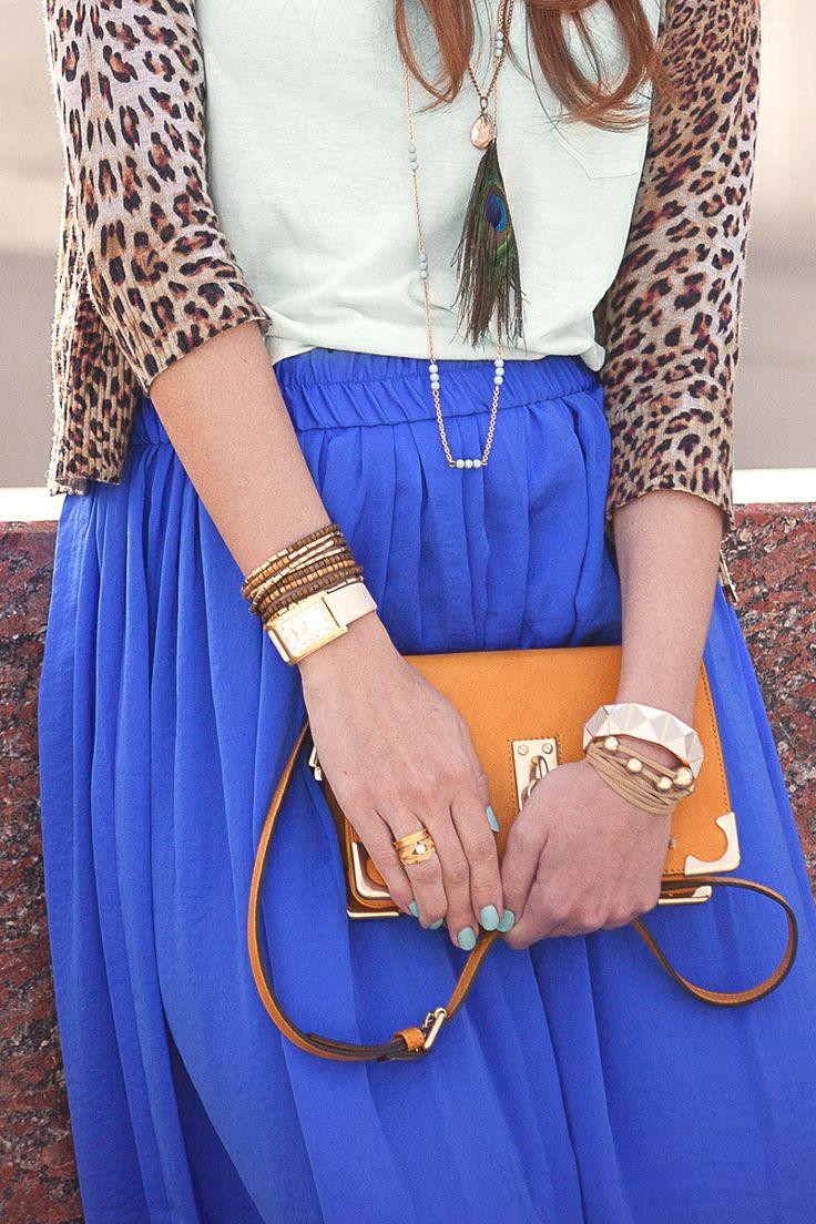 Leopard cardigan + royal blue maxi skirt