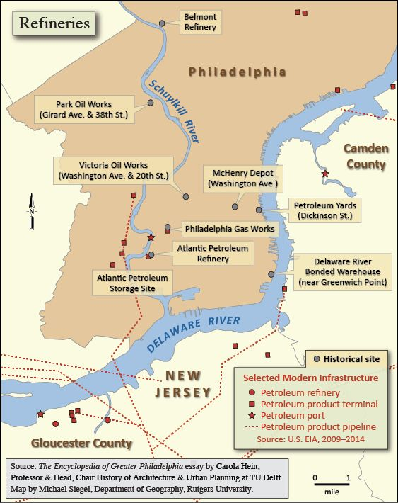 color map showing locations of refineries and historical refinery sites in the philadelphia area