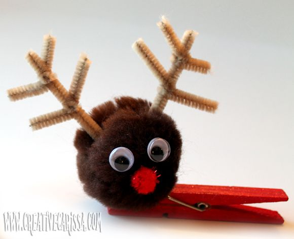 Reindeer clip-on Christmas ornament. Perfect to make with kids - just clip to a branch on your tree.