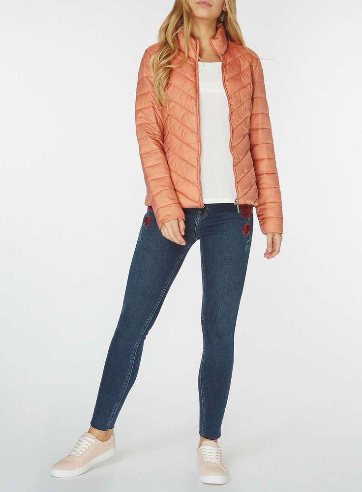 Womens Orange Chevron Pack-A-Jacket- Pink