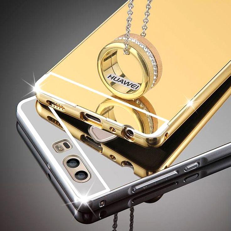 Teléfono case para huawei p9 p9 lite g9 lujo ultra delgada de aluminio marco del metal + espejo contraportada casos para huawei p9 lite p9 plus