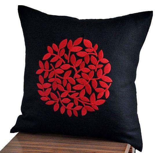Negro rojo funda de almohada almohada contemporáneo moderno