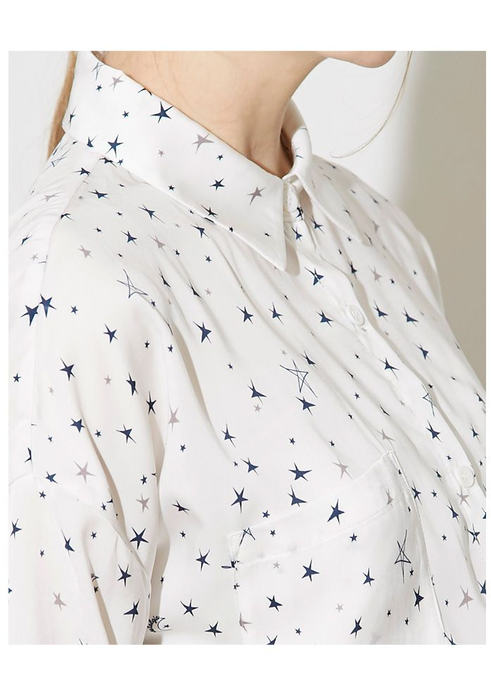 【Star print shirt】レディース 星柄 シャツ