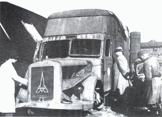 The Death Van in which the victims were suffocated by gas which was discharged from the engine.  The killing in Chelmno began on December 8, 1941.