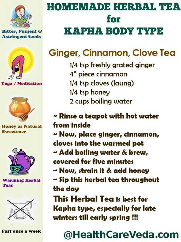 Ayurveda KAPHA - Herbal Tea for Kapha - More Kapha Tips: http://www.foodpyramid.com/ayurveda/kapha-dosha/ #kapha #dosha #ayurveda