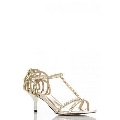 Quiz Gold heel strap detail diamante sandals- at Debenhams.com