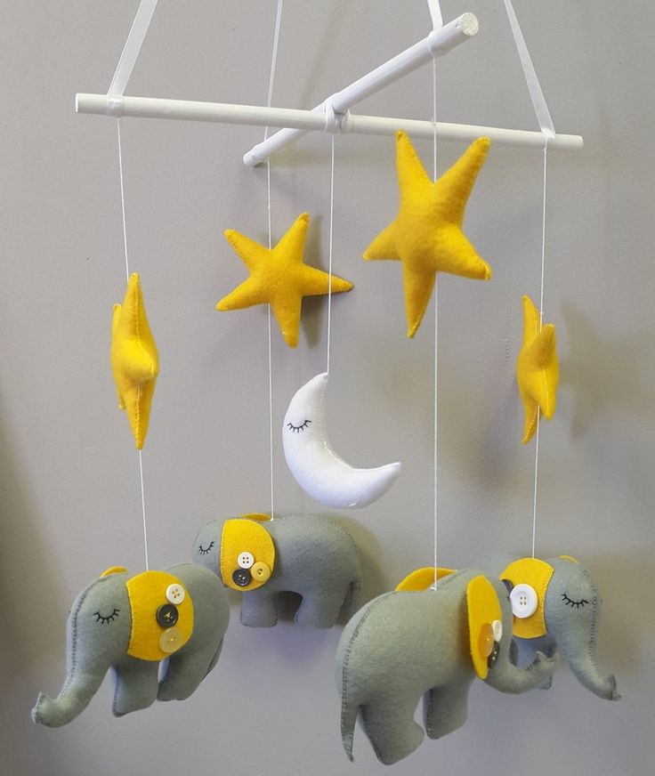 Our plush #ElephantTheme #BabyMobile in #grey and #yellow is perfect for any #NeutralNursery!   #BabyBedding #BabyLinen