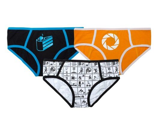 One pair of panties has an aperture on the front. The second pair has a cake with a cherry on it. The third has a list of suggested testing positions. We think you know what to do with these.