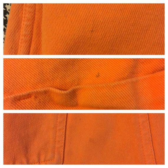 1990's orange denim overall shorts Women's size