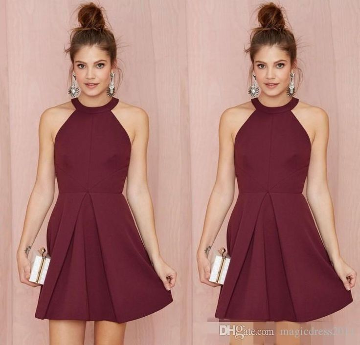 Sexy Short Cocktail Party Dresses 2015 Halter Backless Burgundy A Line Above Knee Length Prom Homecoming Gowns Custom Made Women Formal Wear Short Prom Dresses Dresses for Women Short Cocktail Dresses Online with 86.0/Piece on Magicdress2011's Store | DHgate.com