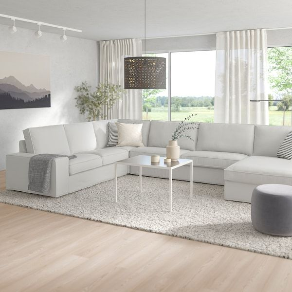Kivik Corner Sofa 6 Seat Ramna Light Grey Ikea Ireland In 2020 Kivik Sofa Modular Sectional Sofa U Shaped Sofa