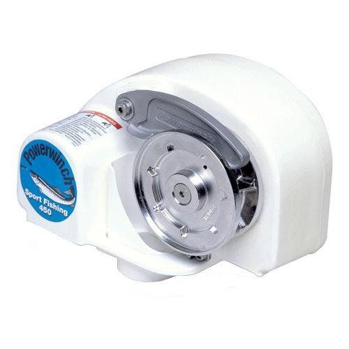 Powerwinch Sport Fish 450 Free-Fall Anchor Windlass. Free-Fall Anchor WindlassPart #: P777727Automatic Helm-Operated Free-Fall Windlass For The Safest Way To Anchor!Benefits of Free-Fall over Power-Down: Free-Fall System anchors up to 300'/min - Up to four times faster than powering down Exclusive stainless steel rope & chain guidance system - Durable materials stand up to years of use Ultra smooth motor uses less amps - Free-fall does not need battery power so it preserves your battery...