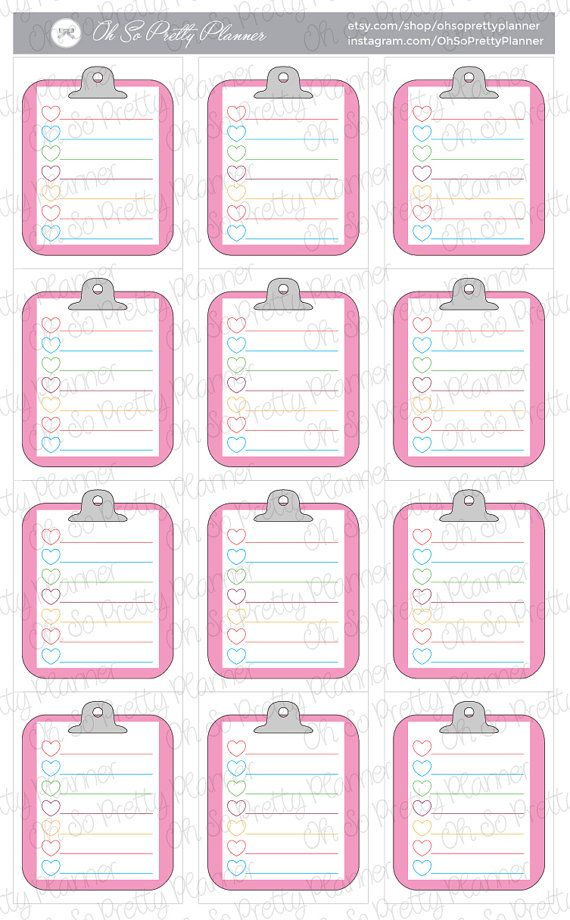 These adorable clipboard stickers are perfect for your planner! They fit perfectly in the weekly squares of your ECLP. 12 Clipboards in a set