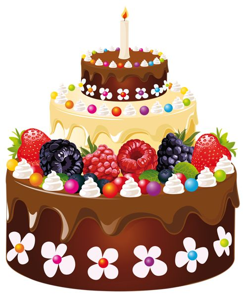 Birthday Cake with Candle PNG Clipart Image