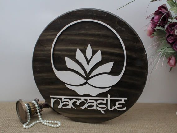 Namaste Wood Sign Lotus Fower Yoga Wood Sign by TimelessNotion