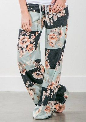 UK Ladies Summer Wide Leg Loose Trousers Floral Print Palazzo Women Pants New Fashion Women Casual Pants